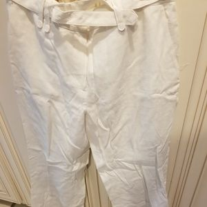 H&M White linen belted pants size 12 new